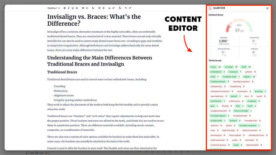 Keyword Surfer content editor